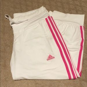 Adidas Cropped Pants White with Pink Small